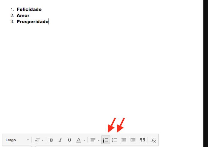 Inserindo listas no corpo de um e-mail com o Gmail (Foto: Reprodução/Marvin Costa)