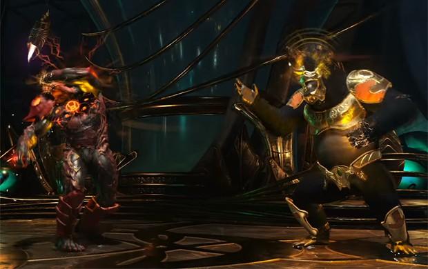 Atrocitus e Gorilla Grodd se enfrentam em luta de 'Injustice 2' (Foto: Reprodução/YouTube/PlayStation)