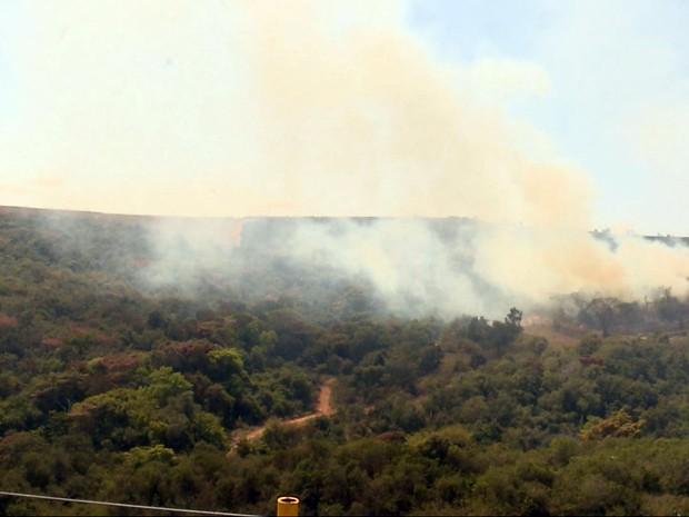 Fogo destrói quase 100 mil metros quadrados de área em Varginha, MG (Foto: Reprodução EPTV / Rafael Melo)
