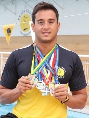 Gabriel Fidélis, atleta de natação do Praia Clube (Foto: Leandro Mendes)