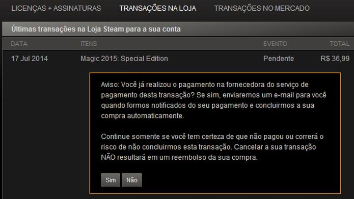 Steam: saiba como cancelar uma compra na loja online de games (Foto: Reprodução/Tais Carvalho)