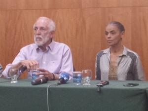 Marina Silva afirmou seu apoio ao ambientalista Apolo Heringer como pré-candidato ao geverno de Minas.  (Foto: Laura de Las Casas/G1)