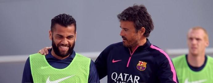 luis Enrique Daniel Alves Barcelona treino (Foto: Miguel Ruiz / FCB)