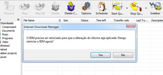 Reinicie o aplicativo para aplicar o novo idioma (Foto: Reprodução/Helito Bijora)