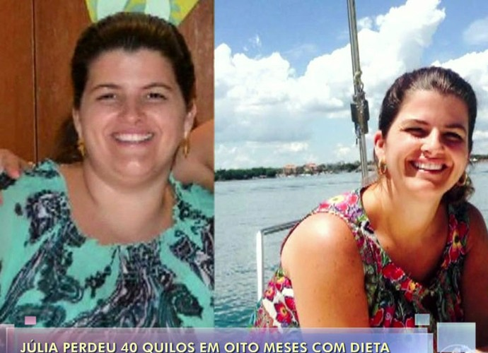 Júlia antes e depois (Foto: TV Globo)