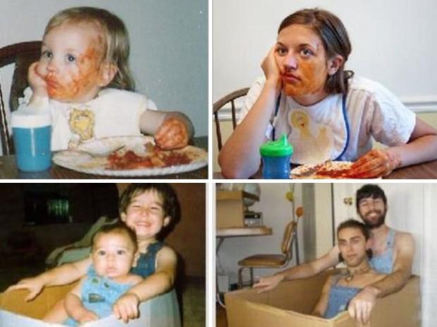 Leitores tentam recriar as mesmas cenas registrada na infância.  (Foto: Reprodução)