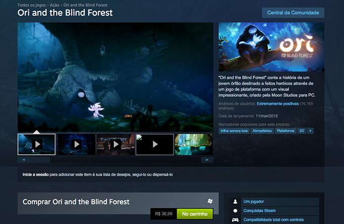 Adicione Ori and the Blind Forest no seu carrinho (Foto: Reprodução/Murilo Molina)