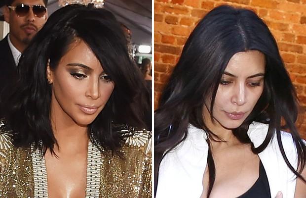 Kim Kardashian, com e sem maquiagem (Foto: Getty Images / AKM-GSI)