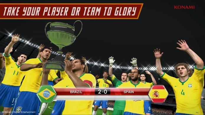 Brasil vence a Espanha pro 2 a 0 e vence a Copa do Mundo no novo DLC de PES 2014 (Foto: Reprodução/ Youtube)