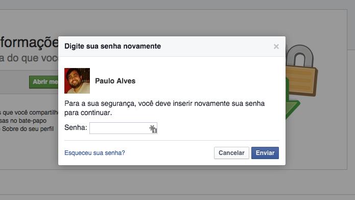 Insira sua senha do Facebook (Foto: Reprodução/Paulo Alves)
