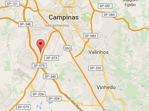 Mapa mostra distância do bairro em relação ao centro de Campinas (Foto: Reprodução/ Google Maps)