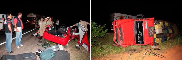 Carro e caminhão colidiram na BR-304, entre Assu e Mossoró; casal morreu na hora (Foto: Marcelino Neto)