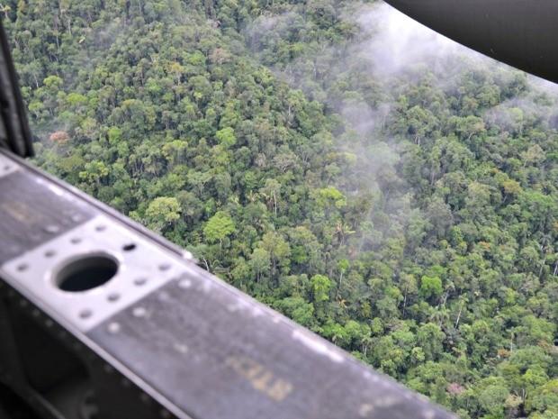 Sobrevoo tentou identificar pistas clandestinas na fronteira do Acre com o Peru (Foto: Vanísia Nery/ G1)