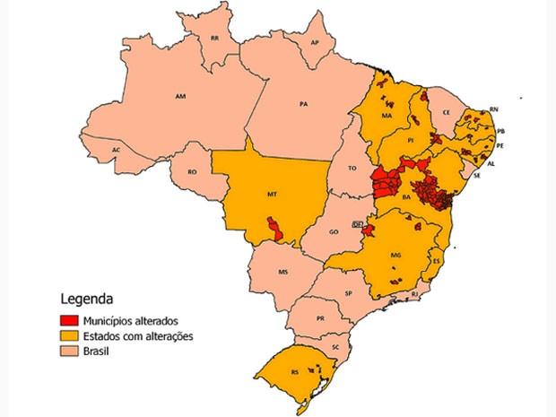 Mapa do IBGE indica municípios que tiveram os limites territoriais alterados (Foto: Reprodução/IBGE)