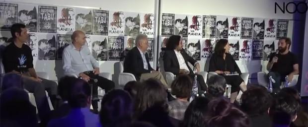Gregório Duvivier em debate com Eduardo Jorge, Dráuzio Varela, Fernando Henrique Cardoso, Jean Wyllys e a jornalista Monica Bergamo (Foto: Noo / Reprodução)