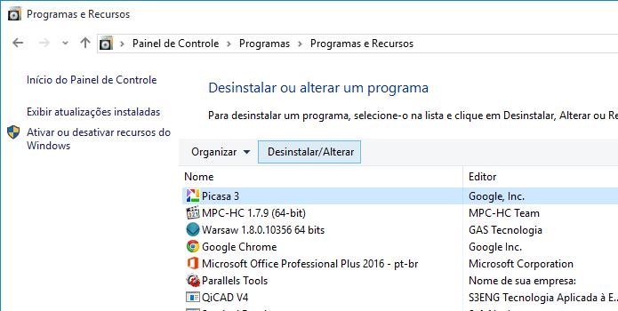 Desinstalando o Picasa do computador (Foto: Reprodução/Helito Bijora)