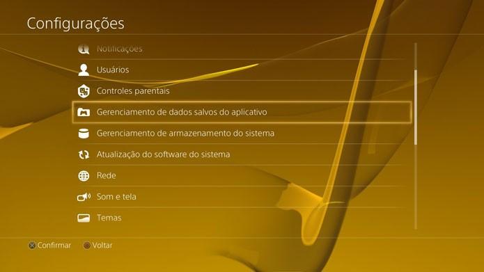 Escolha as configurações do PS4 para administrar os saves (Foto: Reprodução/Felipe Vinha)