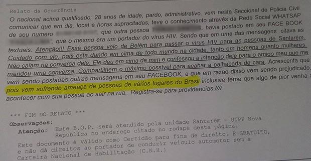 Rapaz registrou Boletim de Ocorrência na manhã de sexta-feira na delegacia em Santarém (Foto: Arquivo Pessoal)