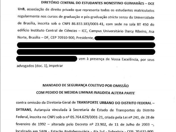 Trecho de mandado de segurança protocolado pelo diretório estudantil da UnB contra o DFTrans (Foto: Reprodução)