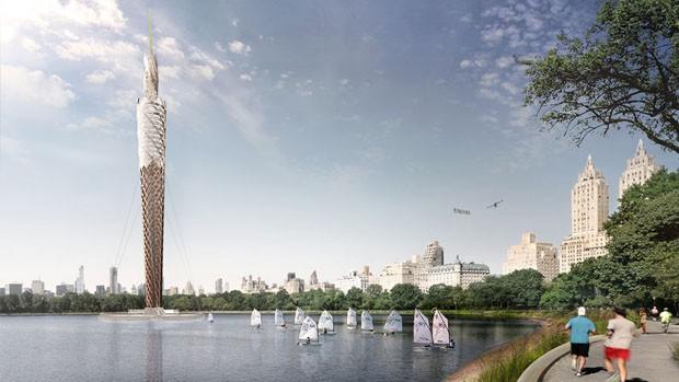 Maior torre de madeira do mundo é projetada para purificar lago no Central Park (Foto: Divulgação)