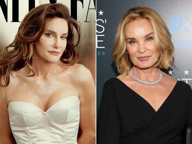 À esquerda, Cailtyn Jenner na capa da 'Vanity Fair' de julho e à direita a atriz Jessica Lange no 5º Critics' Choice Television Awards, em  Beverly Hills, em 31 de maio de 2015 (Foto: Divulgação e Danny Moloshok/Reuters)