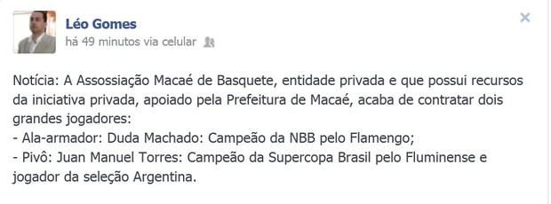 leonardo gomes macaé basquete duda flamengo (Foto: Reprodução / Facebook)