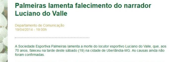 Palmeiras lamenta morte do narrador Luciano do Valle (Foto: reprodução)