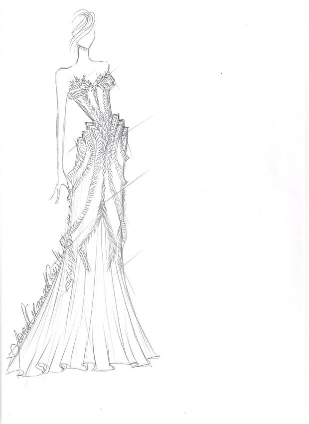 Croqui do vestido que Fernanda Lima usará no desfile de Samuel Cirnansck em parceria com a Mãos da Terra, em Paris (Foto: Divulgação)