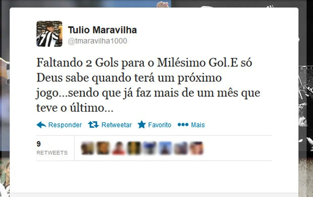 Twitter Túlio gol 1000 jogo (Foto: Reprodução / Twitter)