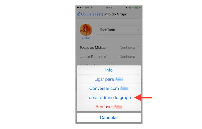 Escolhendo um novo administrador para um grupo do WhatsApp no iOS (Foto: Reprodução/Marvin Costa)