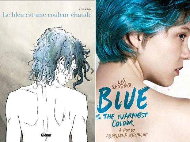 Capa da história em quadrinho francesa 'Le bleu est une couleur chaude' de Julie Maroh, e cartaz do filme 'La vie d'Adele' (título em inglês 'Blue is the warmest colour'), vencedor da Palma de ouro (Foto: Divulgação)