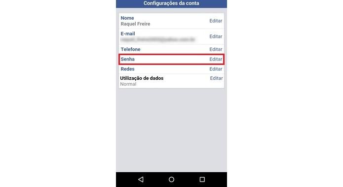 Opção para alterar senha no Facebook Lite (Foto  Reprodução Raquel Freire) 414ad9f6b35
