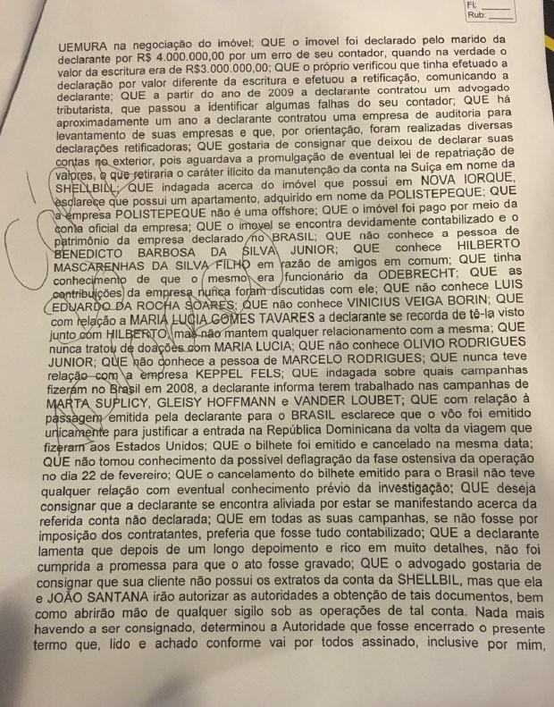 Depoimento de Monica Moura, mulher do publicitário João Santana, à Polícia Federal na Lava Jato (Foto: Reprodução)