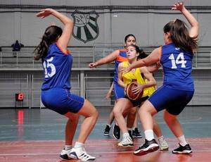 Meninas do CEI comemoram vitória na semifinal das Olimpíadas Escolares (Foto: Fernando Soutello/AGIF/COB)