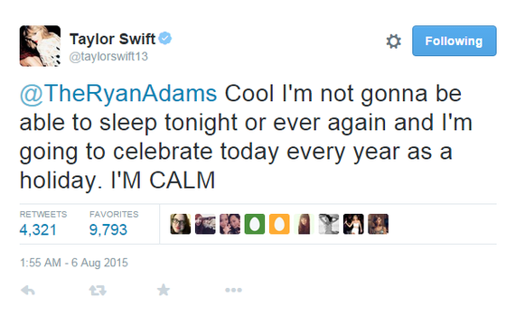 Taylor Swift esperando o cover do Ryan Adams (Foto: Twitter)