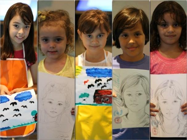 Dois desenhistas fizeram retratos durante todo o dia. (Foto: TV Anhanguera)