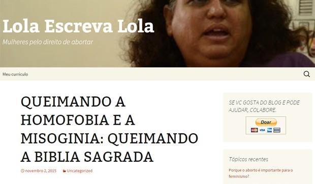 Um dos posts publicados em nome de Lola no falso blog  (Foto: Reprodução)