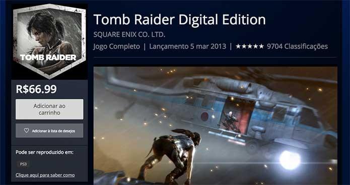 Tomb Raider e sua versão digital na PSN (Foto: Reprodução/Felipe Vinha)