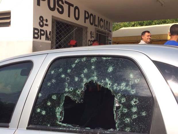 Posto policial também foi alvo dos bandidos em São José do Campestre (Foto: Matheus Magalhães/Inter TV Cabugi)