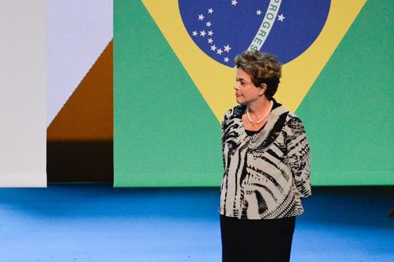 A presidente Dilma Rousseff, na quarta-feira (5)  durante cerimônia que marca a contagem regressiva para os Jogos Olímpicos de 2016 (Foto: João Mattos / Brazil Photo Press)