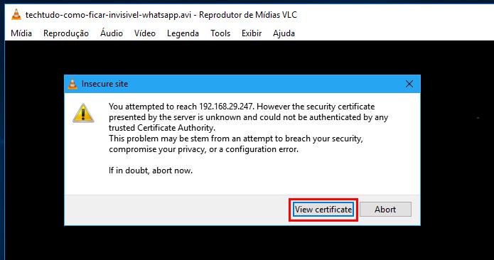 VLC alertando que o Chromecast pode ser inseguro (Foto: Reprodução/Edivaldo Brito)