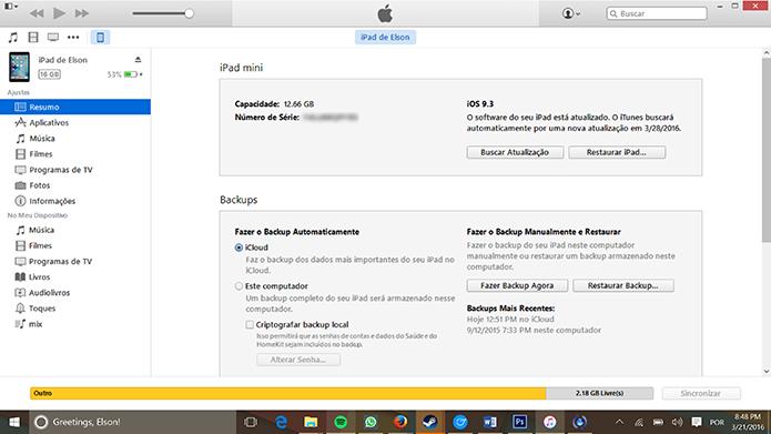 iTunes mostrará dados do dispositivo caso consiga ativá-lo (Foto: Reprodução/Elson de Souza)