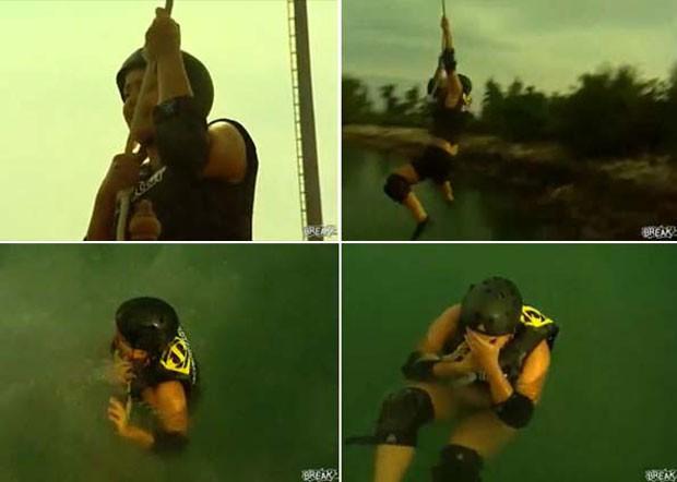 Em 2009, uma participante do reality show 'The Real World', da MTV, sofreu um acidente curioso durante a realização de uma prova. Shauvon Torres  estourou um dos implantes de silicone que colocou nos seios. Ela rompeu a prótese quando precisou saltar com os seus companheiros em um lago. (Foto: Reprodução)