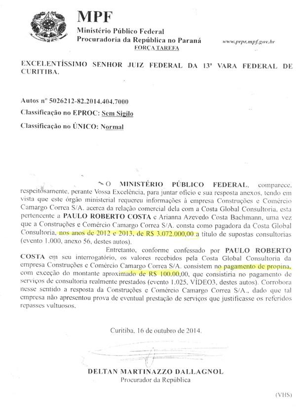 Em correspondência enviada à Justiça Federal na semana passada, o Ministério Público informa que o ex-diretor admite ter recebido propina da empreiteira (Foto: Reprodução)