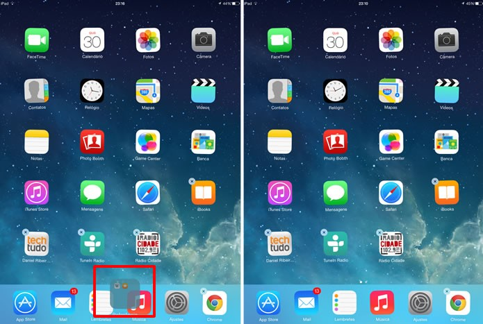 Ainda pressionando a pasta com os apps que serão escondidos, arraste-a para a barra de Dock na interface, tornando-a completamente oculta (Foto: Reprodução/Daniel Ribeiro)