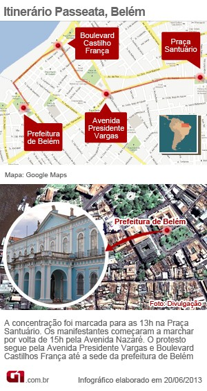 infográfico itinerário passeata belém can (Foto: Nathiel Sagres/ G1 PA)