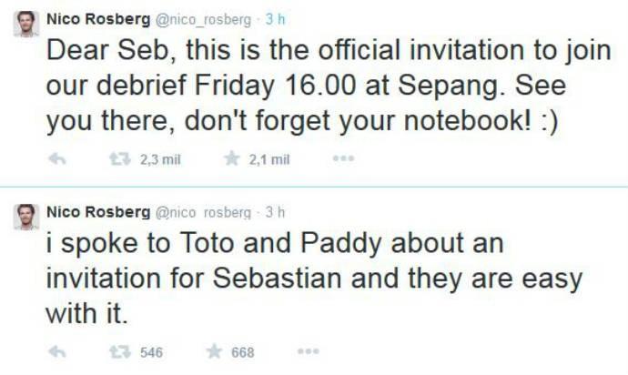 Rosberg convida Vettel para a reunião da Mercedes (Foto: Reprodução/Twitter)