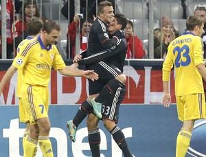 Comemoração do Bayern de Munique contra o BATE Borisov, AP (Foto: Agência AP)
