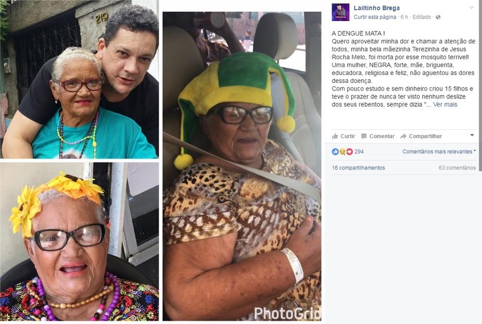 Mãe do cantor Lailtinho Brega morre com dengue e humorista alerta para o perigo da doença (Foto: Facebook/Reprodução)