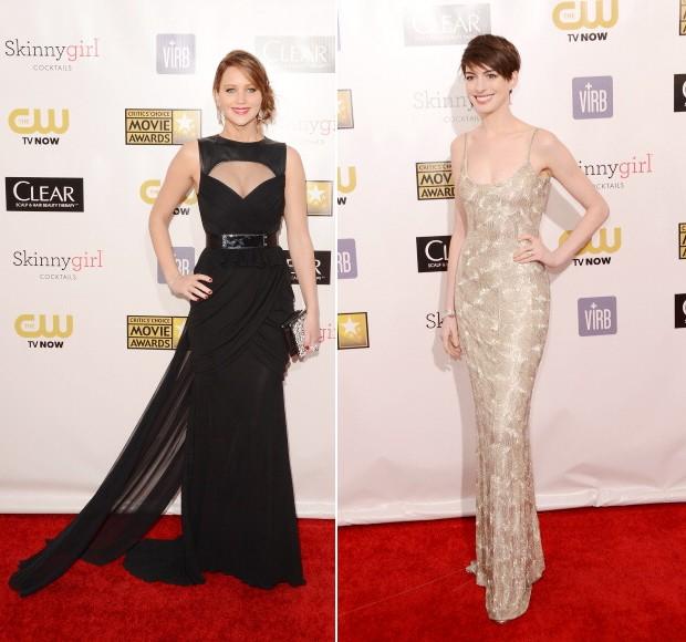 Jennifer Lawrence de Prabal Gurung e Anne Hathaway de Oscar de La Renta (Foto: Getty Images)